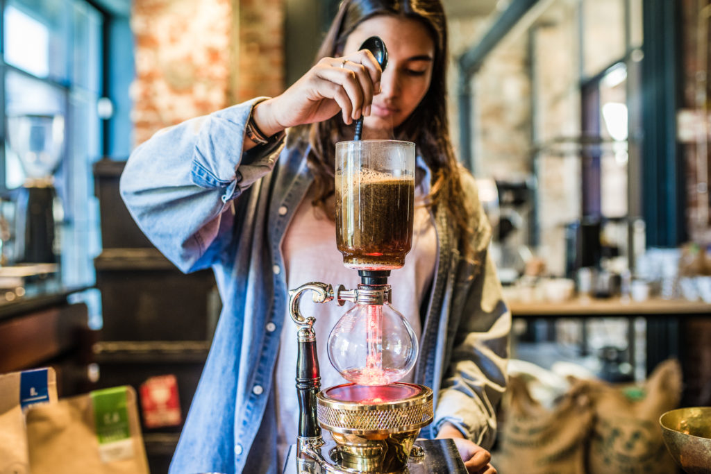 Siphon brewing coffee